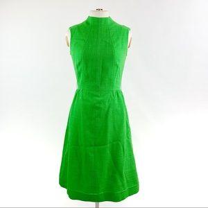 VINTAGE 60's 70's Green Mock Neck Mod Dress